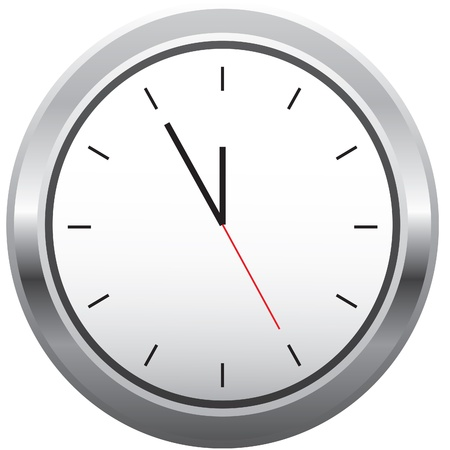 Modern metal clock without numbers.