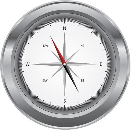 Metal shiny compass isolated on a white background. Ilustração