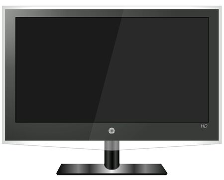 Flatscreen television with a blank screen on a white background. Illustration