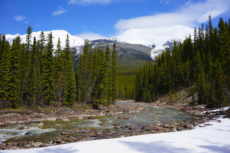 Stream running through snowy Rocky Mountains