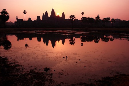 buddhist structures: Angkor Wat Temple In Summer Sunrising, Siem Reap-Cambodia
