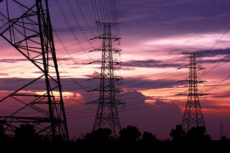4 Electric Poles Near To Far In The Wide Field In Upcountry, Ayuthaya photo