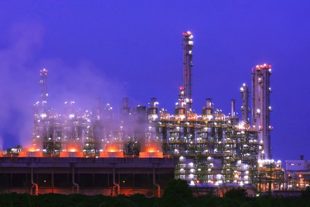 Oil Refinery At Twilight, Rayong-Thailand photo