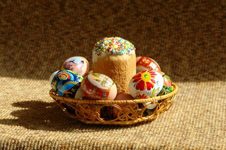 christ is risen easter: Easter cake with eggs in a basket                              Stock Photo