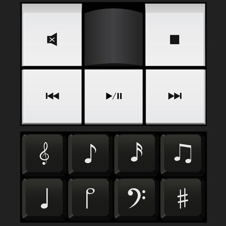 music notes vector: sound control keyboard , music notes vector