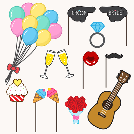 bride and groom illustration: photo booth props for wedding,wedding party set