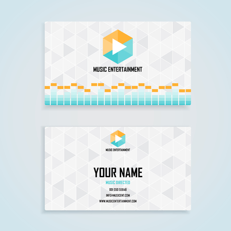 visit card: music entertainment name card template, business name card design set