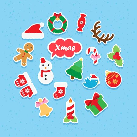 christmas icon: Christmas icon paper set vector symbol