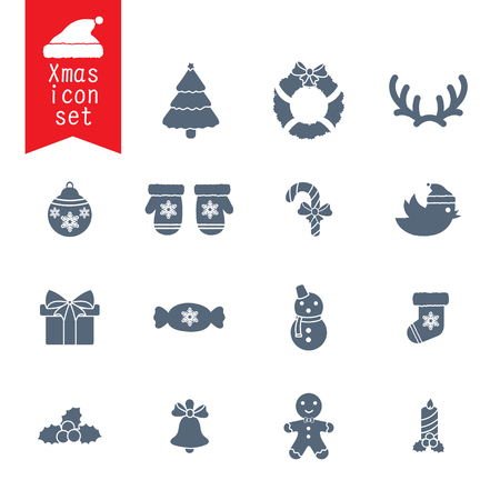 christmas icon: Christmas icon set vector symbol and xmas icon design