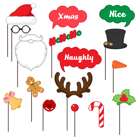 cartoon nose: photo booth props for merry Christmas , merry Christmas party set Illustration