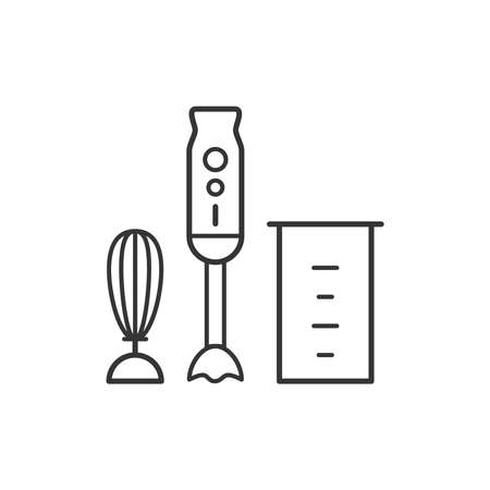Hand blender kitchen household domestic appliances thin line icon