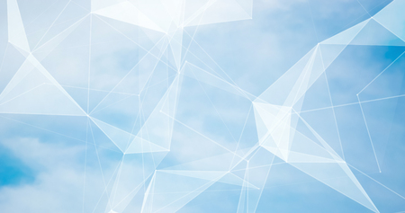 Abstract blurred background blue sky with white clouds in sunlight and geometric poligons texture. Summer background. Beautiful backdrop for for webdesign. Abstract Plexus Background. Фото со стока