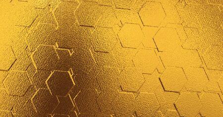 Geometric golden background. Golden polygonal wall from hexagon. 3 d render.