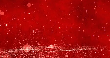 Bokeh on the red Merry Christmas background. Magical Happy new year wallpaper. 3D rendering image Foto de archivo