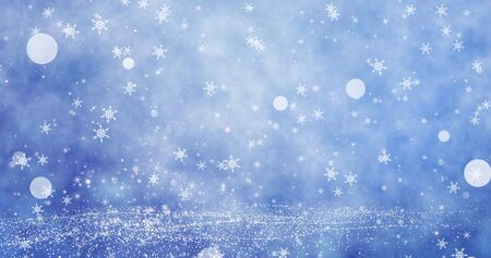 White snowflakes and bokeh on the blue Merry Christmas background. Magical Happy new year wallpaper. 3D rendering image