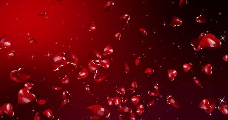 Romantic cute falling polygonal hearts. Valentines Day. wedding event background. 3D rendering illustration