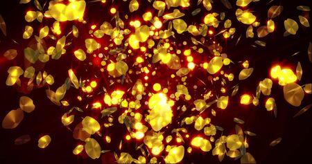 Golden foil petals background. Glittering falling confetti backdrop for event. Loop 4k animation