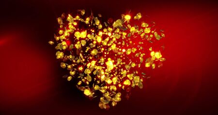Happy Valentines Day background with glitter falling confetti and glowing golden heart. For Valentine's Day event. Foto de archivo