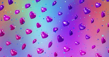 Neon background with glowing ultraviolet heart. For St. Valentines Day event, Mother's Day, anniversary, wedding invitation e-card. 3D rendering 3D rendering illustration