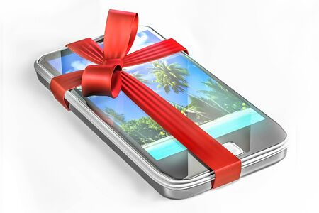 3D image of a present of a cell phone. photo