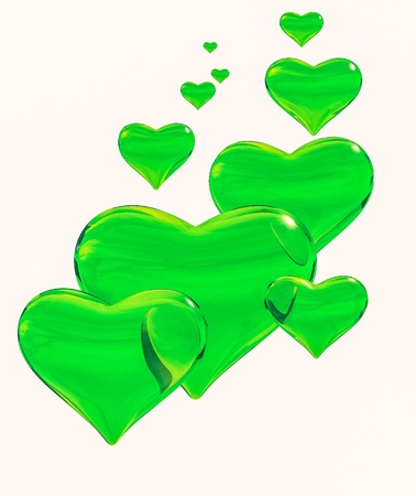 3d heart: Group of glossy translucent green hearts on a white background.