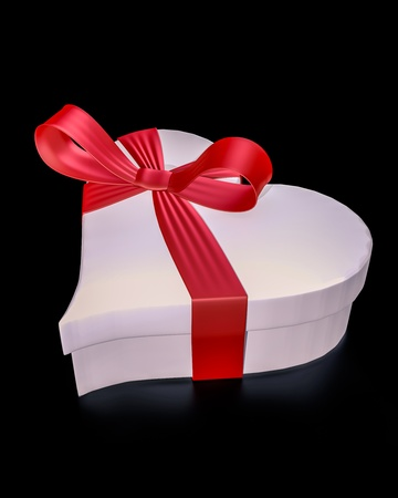 3D image of a heart shaped gift box on a black background. photo