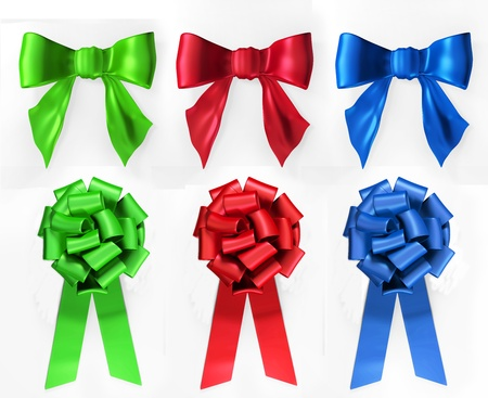 Two different types of bows in red, green and blue on a white background. photo