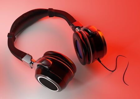 Headphones on white background and creative lighting Stock Photo