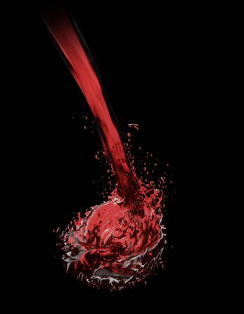 Wine poured into glass. 3D rendering
