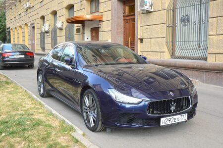 shine: Maserati. Dark blue. Shine Moscow Summer day August