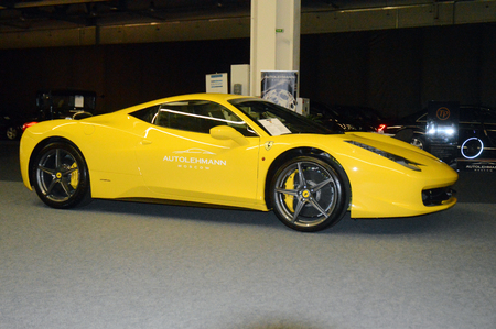 ferrari: yellow ferrari italy in showroom Editorial