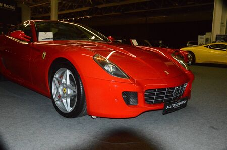 Red Ferrari in the showroom Editorial