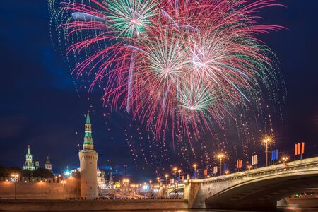 salut: Fireworks over the Moscow Kremlin Independence Day