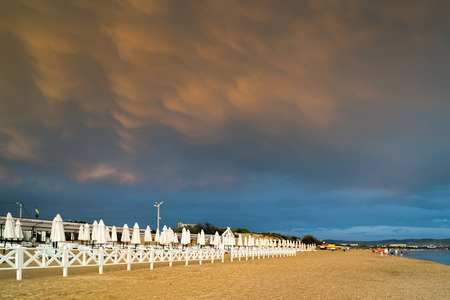 MAMMATUS over the beach after a storm on the beach