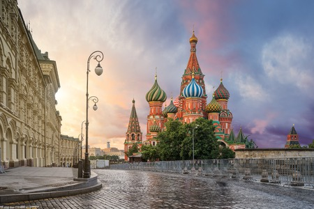 St. Basil's Cathedral in the morning in Moscow Stock Photo