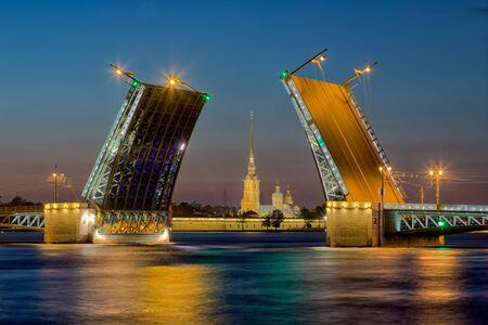 Divorce Palace Bridge in St. Petersburg in white night Stock Photo