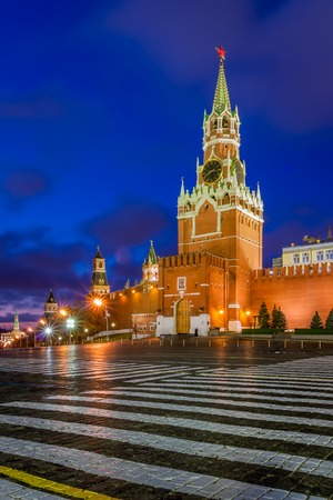 Spasskaya Tower of the Moscow Kremlin at dawn Stock Photo