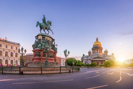 St. Isaacs Square in St. Petersburg in the morning with sun