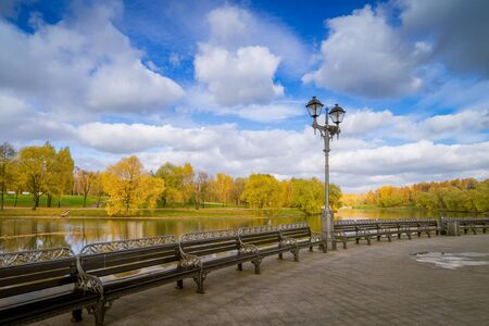 Lantern with benches in the park Tsaritsyno in Moscow