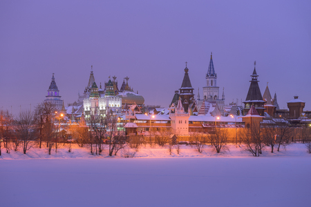 Izmailovo Kremlin winter evening in the Moscow