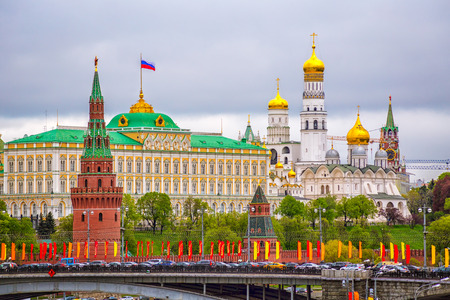Moscow Kremlin on a cloudy day The ship on the background of the Moscow Kremlin cloudy day in the summer