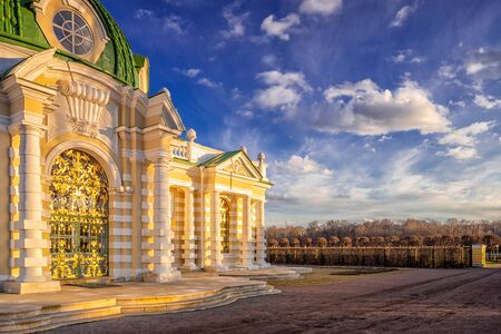 Grotto in Kuskovsky park in Moscow on a spring evening