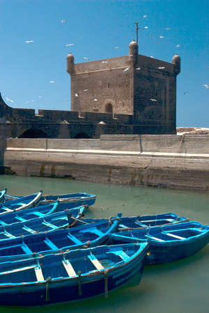 bastion: old port and bastion of Essaouira. Morocco. Stock Photo