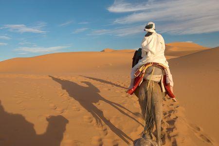 hummock: caravan of tourists in desert