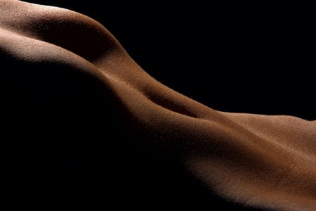The  woman poising in the dark. Female body parts. Stock Photo - 636964