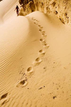 Footprints on the sand Sidi Kaoki beach photo