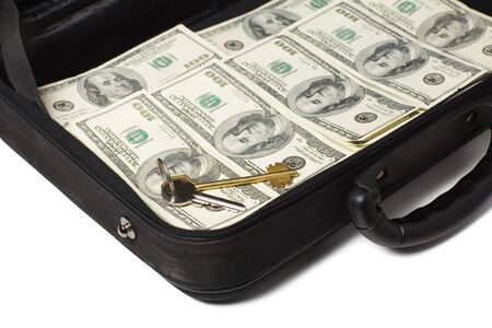 A big case full of american one-hundred dollar bills.  photo