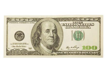 One hundred dollar on white background. Isolated. photo