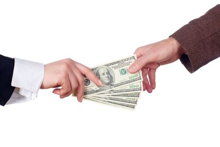 business transaction: Concept of two people fighting over money  business transaction  giving & taking money  shopping  divorce  power struggle  etc.  Stock Photo
