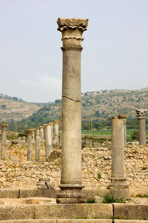 ancients: Volubilis is the best preserved Roman site in Morocco, and features some brilliant mosaics. It was declared a UNESCO World Heritage site in 1997. Stock Photo